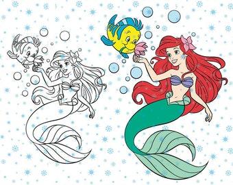 Disney Princess Ariel  The Little Mermaid SVG cutting ESP vector instant download