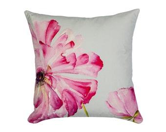 Ranunculus Pink Velvet Cushion