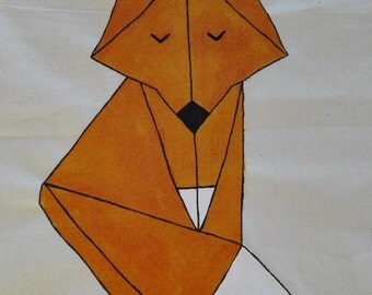 Jute bag origami Fox, hand painted