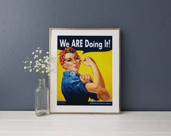 "PRINTABLE 11""x14"" Rosie the Riveter poster, high-res JPG ready to print, ""We ARE Doing It!"" custom text"