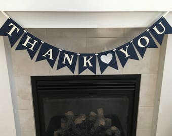 Thank You Banner, Thank You Sign, Wedding Decoration, Photo Prop, Wedding Reception, Navy and Cream, Silver Heart