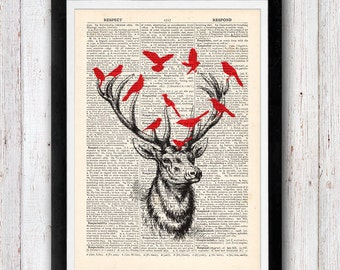 Deer and Birds vintage dictionary page book art print