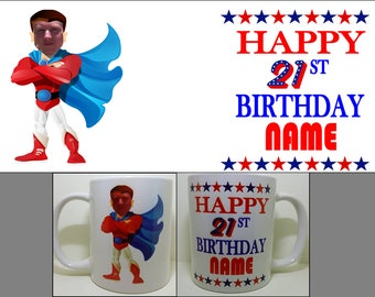 Personalised personalized mug cup Super Hero Superhero Photo Mug