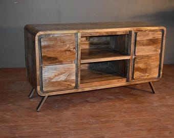 unusual solid wood media cabinet. Rustic Reclaimed Solid Wood TV Stand  Media Console or Sofa Table with 4 drawers and Tv stand Etsy