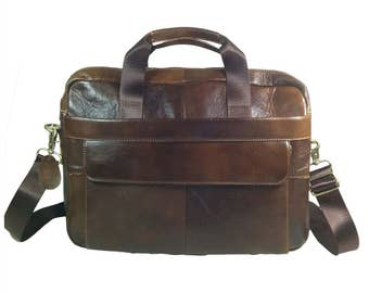 GENUINE LEATHER, Brown, Soft, Laptop Messenger BAG & Straps, Perfect Business Gift, Men Ladies Suitcase Luggage