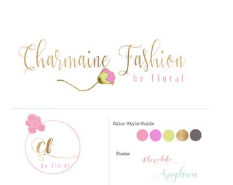 Premade, hand drawn, floral, elegant,classy gold,pink Text logo design, branding with Feng Shui