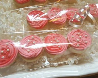 32 Pink Mini Rosette Roses Cookies Party Favors