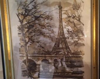 Vintage Arno Paris da tour Eiffel print, framed