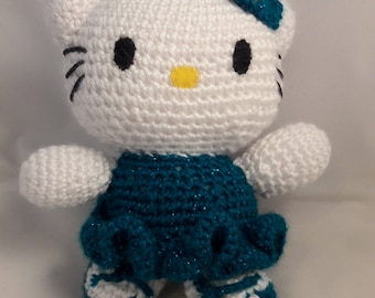 "Handmade Knitted Ballerina Hello Kitty 7""- Blue/Teal"