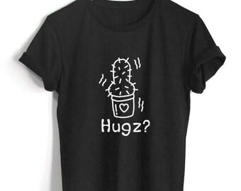 Cactus Hugs Me T-Shirt plane Shirt Funny Plants Are Friends Shirt Unisex Size Tumblr Pinterest