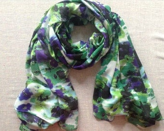 Multi coloured scarf, green, purple, cream