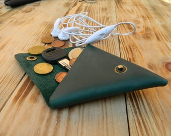 Leather coin purses, Mens leather coin purse, Green leather tote bag, Leather coin holder, Leather squeeze coin purse, Leather coin bag