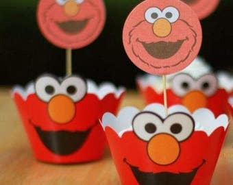 Elmo cupcake toppers & wrappers | Party supplies | birthday 24 pcs set