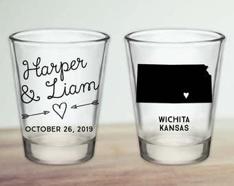 Custom Kansas Wedding Favor Shot Glasses