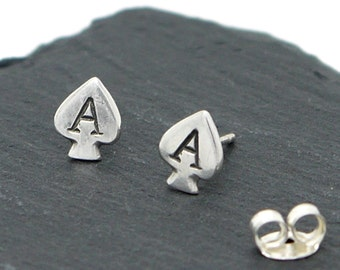 Silver Ace of Spades Earrings, The Ace of Spades Studs