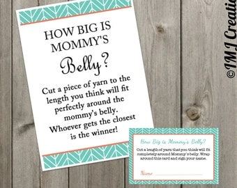 Coral and Teal // How Big is Mommy's Belly // Baby Shower Printable Game // It's a Girl //Herringbone