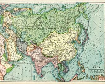 Hammond's Antique Asia Map 1902