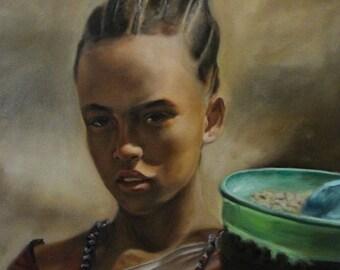 "Ethiopian Girl 2016, Oil on Canvas, 14"" x 18"""