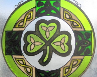 Hand Painted Celtic Art Glass Irish Shamrock Suncatcher Ornament - Size 7""