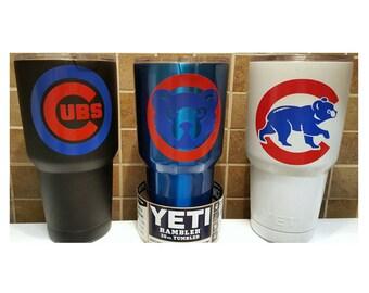 YETI - Authentic - Chicago Cubs Yeti Cup Mug 30 oz Rambler Tumbler Chicago Cubbies yeti 30oz Powder Coated Wrigley Field Gift Large painted