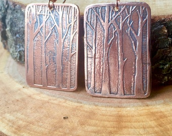 Copper Etched Winter Woods Earrings
