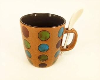 Stoneware Mug, Beige Coffee ceramic mug, unique colorful Dots mug, Pottery Glazed Mug, Bare Bottom Holiday Gifts