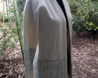 Vintage pixelated long cardigan