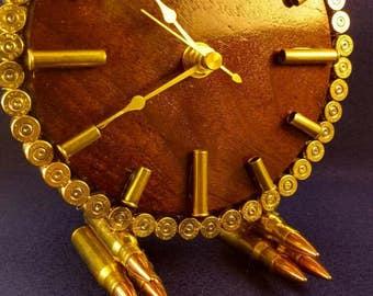 "6"" solid walnut ammo desk clock. Made to order!"