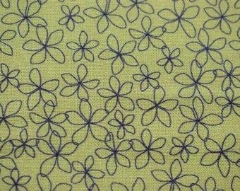 mustard floral fabric, stencil flower Quilting fabric,  cotton fabric, mustard fabric, fabric by the metre, flower fabric, black flowers