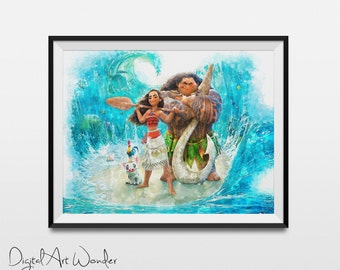 Disney - Moana Friends - Watercolor Painting Print