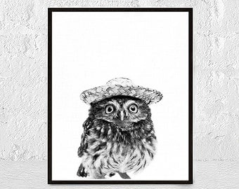 Owl Print, Woodlands Nursery Decor, Wilderness Wall Art, Printable Owl Poster, Black and White, Kids Room, Animal Photo, Neutral art