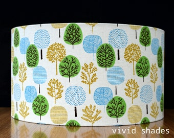 Scandinavian fabric lampshade handmade by vivid shades, modern retro scandi tree, stylish cool and funky 40cm custom made retro shade
