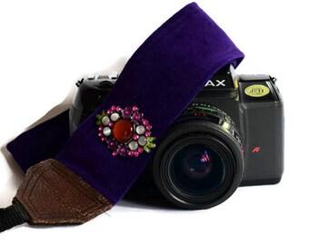 Handmade strap/ Purple velvet with a jewel/ Camera strap/ Camera accessories/ Photographer/ Shoulder strap/ Stylized/ Gift idea/Custom strap