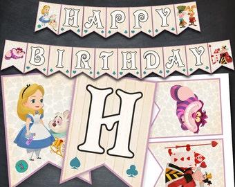 Alice in Wonderland Banner, Alice in Wonderland, Printable Banner, Party, Banner, Happy Birthday Banner, Favors, Digital Banner, DIY