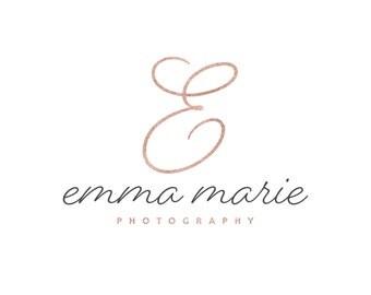 Rose Gold Logo / Photography Logo Design / Cursive Logo / Rose Gold Initial Logo / Modern Logo / Pink Blog Logo / Pink Logo / Feminine Logo