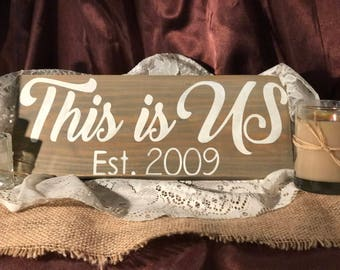 Personalized - This Is US  Est. ** Your Year ** - Hand-Painted Wood Sign