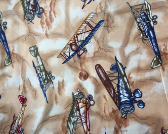 """Vintage, Cotton, Fabric, Remnant, Airplanes   44""""wide  x 22"""" Long"""