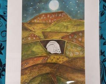 Pagan Hare at Pendle Hill A4 Print