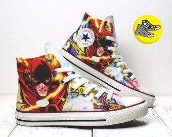 Running Flash custom converse sneakers superhero inspired hi top shoes