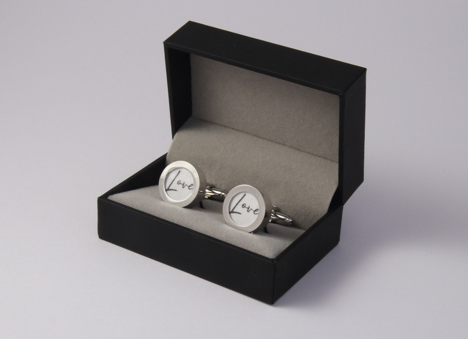 Personalised cufflinks with initials on cotton 2nd wedding