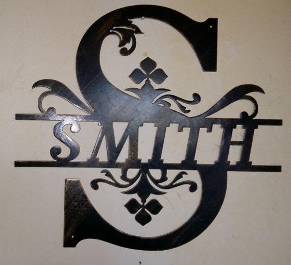split monogram family initial and name metal wall sign wall
