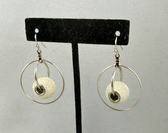 Double ring snowball earrings