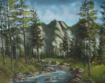 "Sierra Nevada Mountain Stream Original Landscape Oil Painting Wall Art Decor on Canvas size 16""x20"""