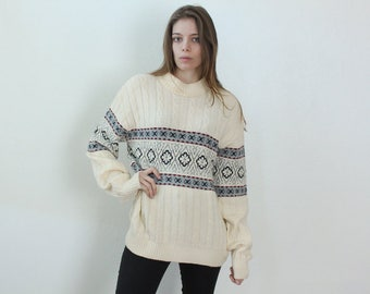 Vintage Norwegian Cable Knit Sweater // 80s Nordic Striped Snowflake Oversized Pullover - Extra Large xl