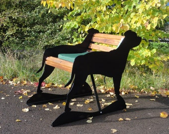 Hand-Crafted Staffordshire Bull Terrier Garden Bench - Unusual and Unique Garden Furniture - Lovely Bull Terrier Birthday, Anniversary Gift