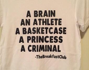 Men's White T. Breakfast Club inspired.