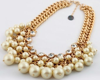 Chunky Pearl and Crystal Charm Statement Bib Necklace