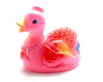 Vintage Pink Rubber Duck - 1960s - made in Japan - Whistle