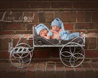 Digital backdrop background newborn twins, baby boy vintage iron retro car prop / 161