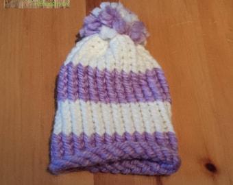 Purple and beige knitted newborn Hat